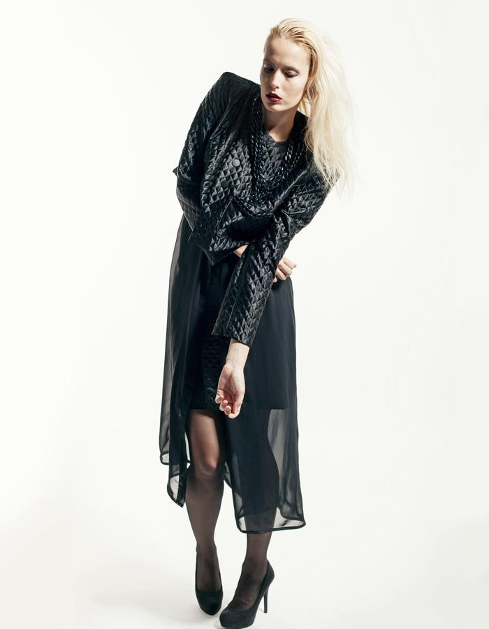 silk blouse, quilted jacket, black fashion