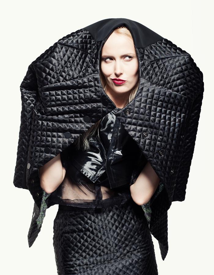 quilted coat, neoprene, pencil skirt