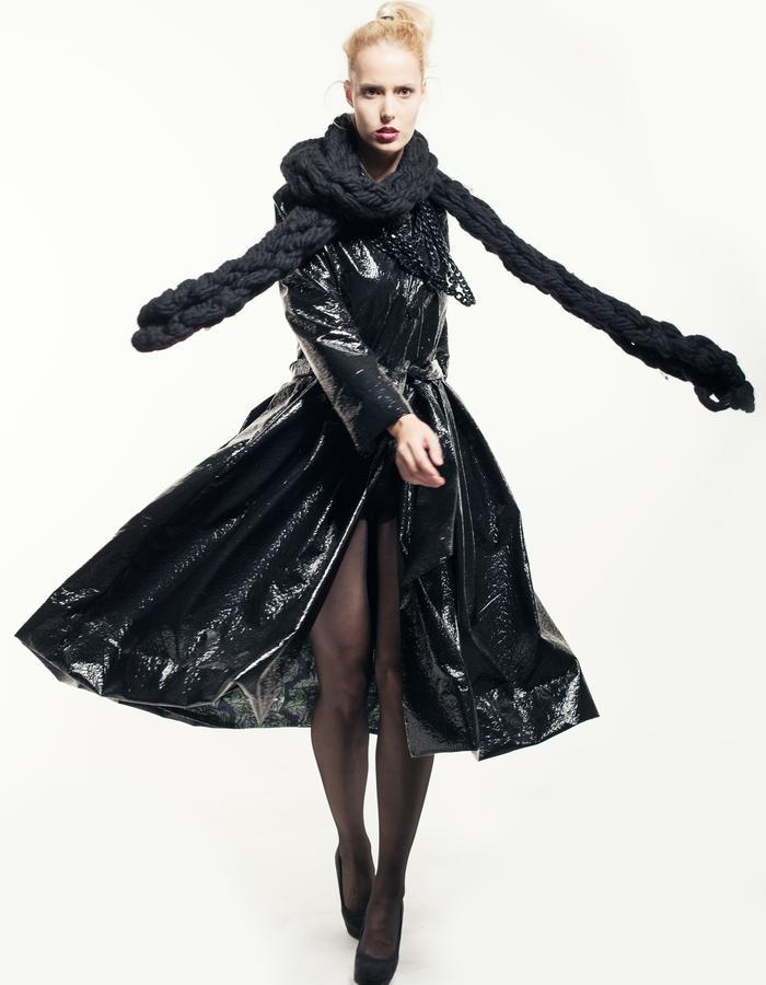 shinny trench coat, black trench coat, wool, scarf, black, digital print