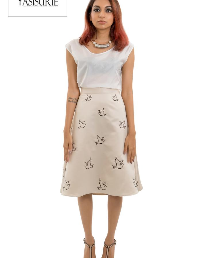 Silk top with silk satin matte flare skirt with placement embroidery
