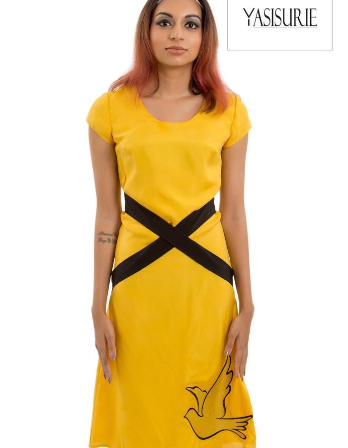 Silk dress with cross over faux belt option and large placement embroidery