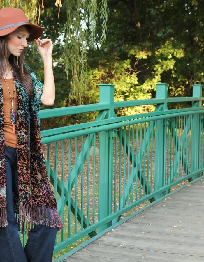 Hand-dyed silk velvet burnout fringe kimono