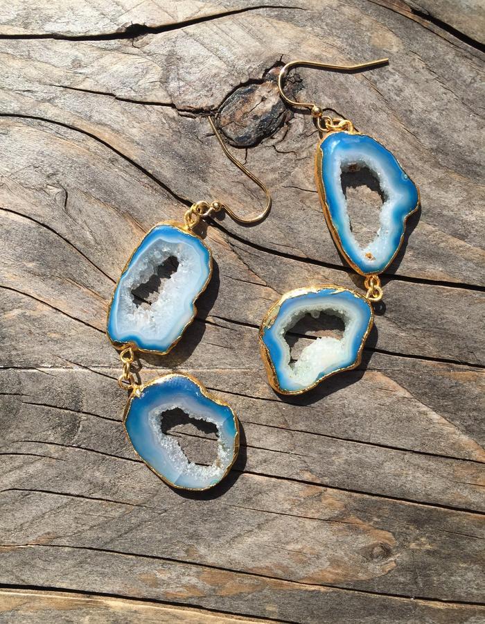 Zahara Crystal Earrings-Turquoise