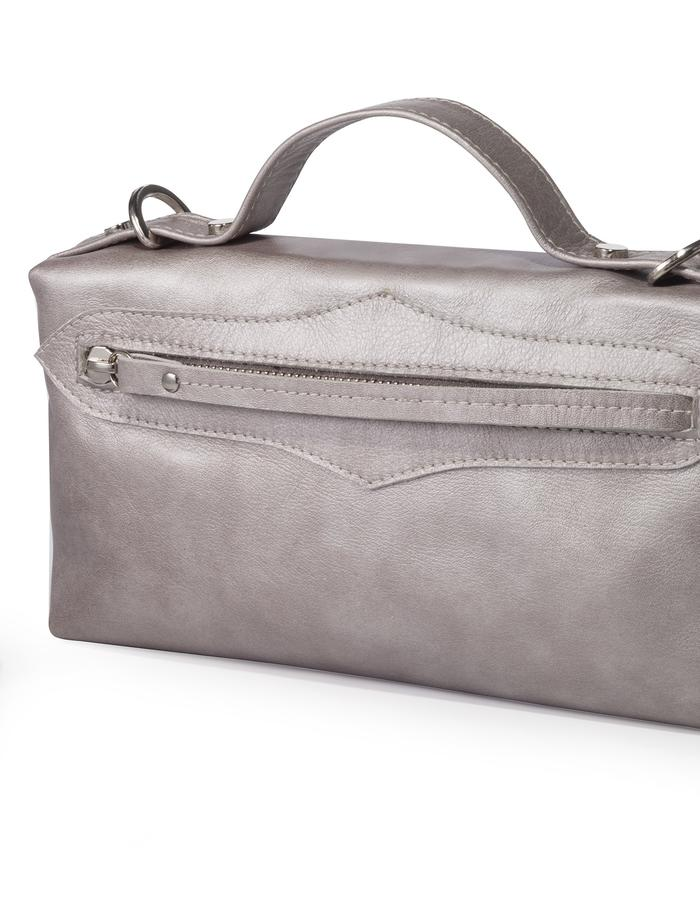 Dara bag silver with removable strap by Colle'cte