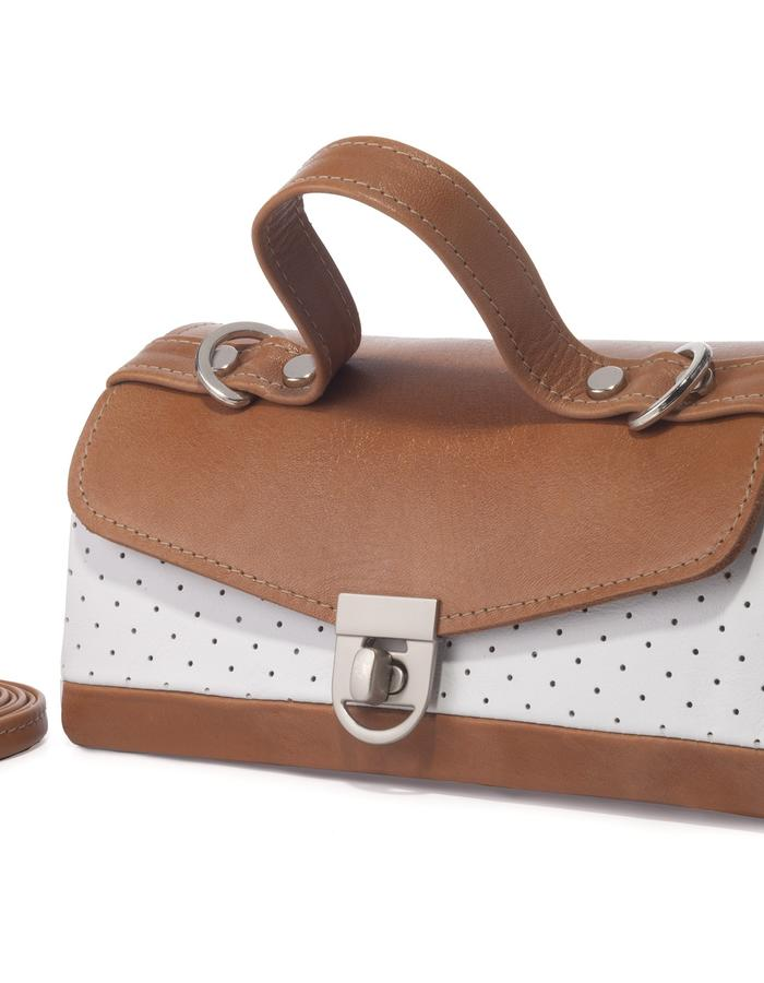 Annika drop shape bag white and brown color by Colle'cte