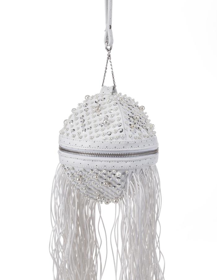 Balluci ball shape bag white leather hand embroided pearls and fringe by Colle'cte