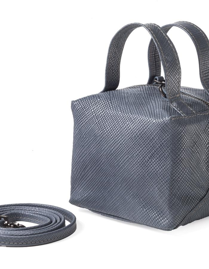 Small cube bag blue leather grid pattern by Colle'cte