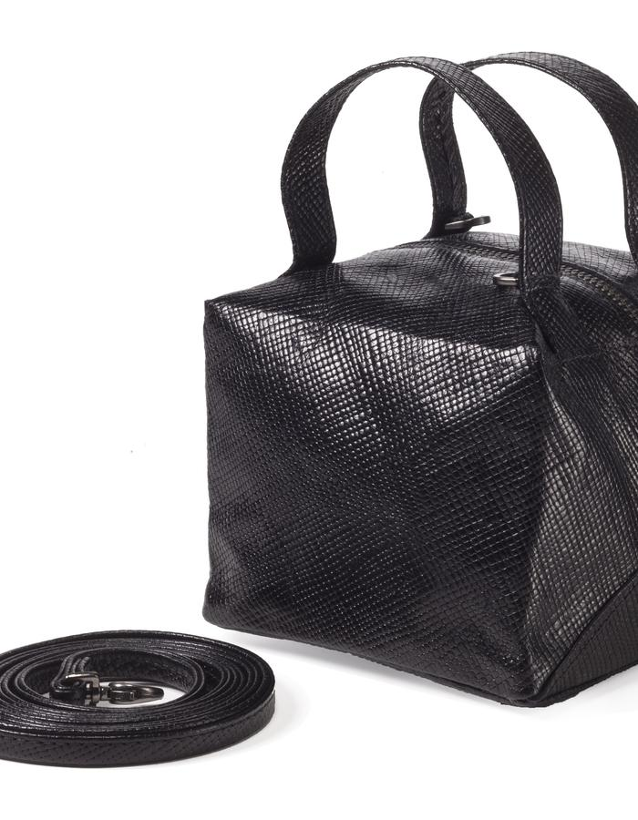 Small cube bag black leather grid pattern by Colle'cte