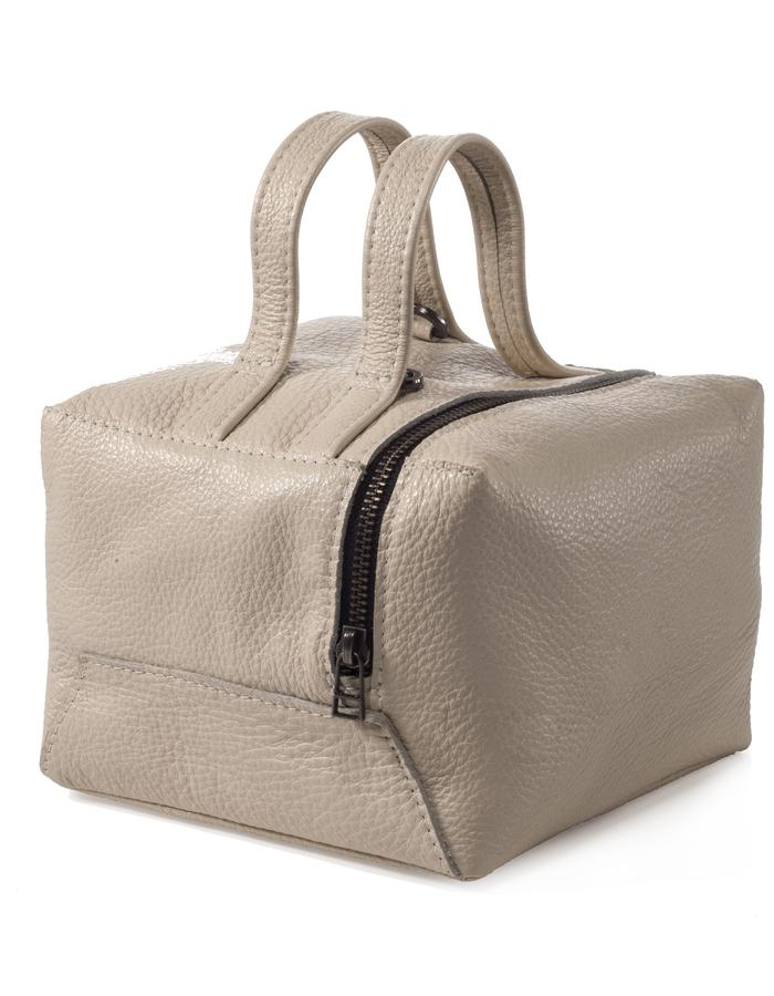 Large cube cream color bag with removable strap by Colle'cte