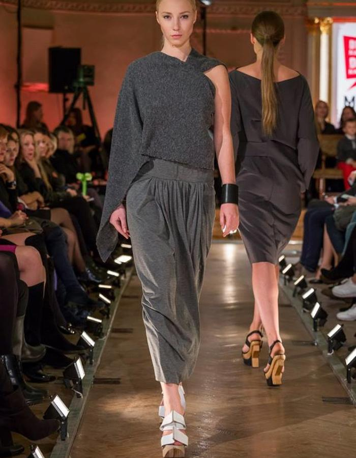 Grey Wool assymetric Draped Top and Jersey Skirt