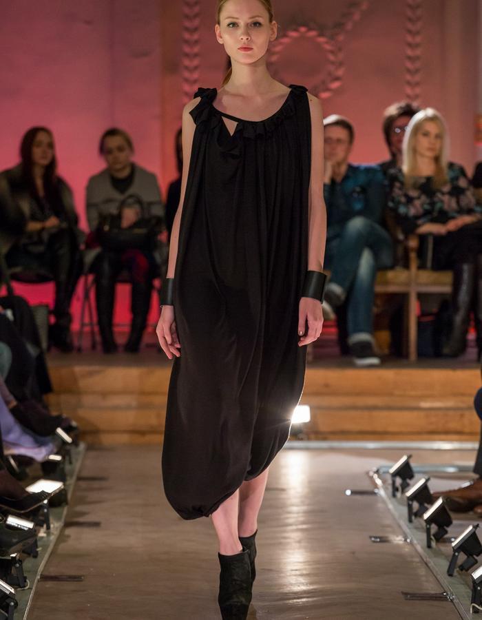 Black Jersey Draped Dress