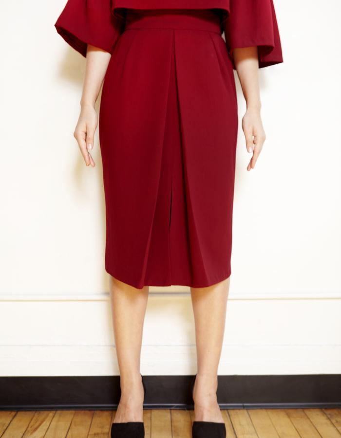 Burgundy Front pleat A-line skirt