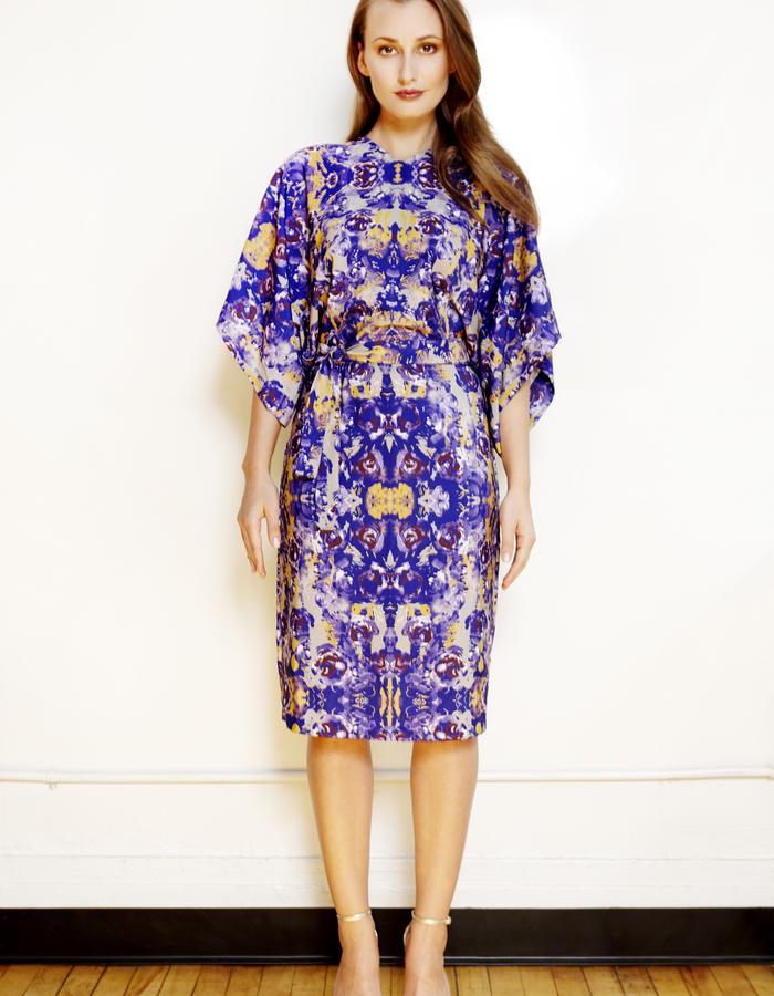 Royal printed kimono dress