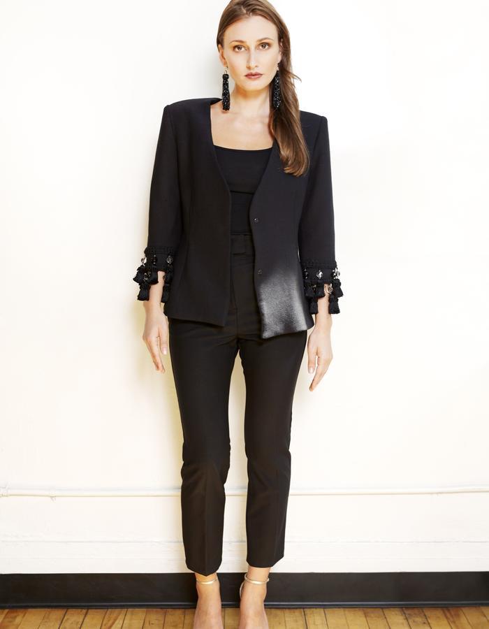 Black embellished sleeve collarless blazer