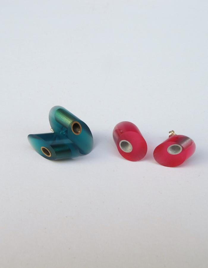 Pink & Teal TubeTube Stud Earrings