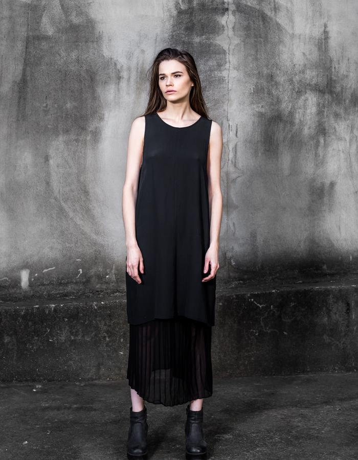 The Saint Collective Silk Sativa Shift and Silk Pleated Skirt
