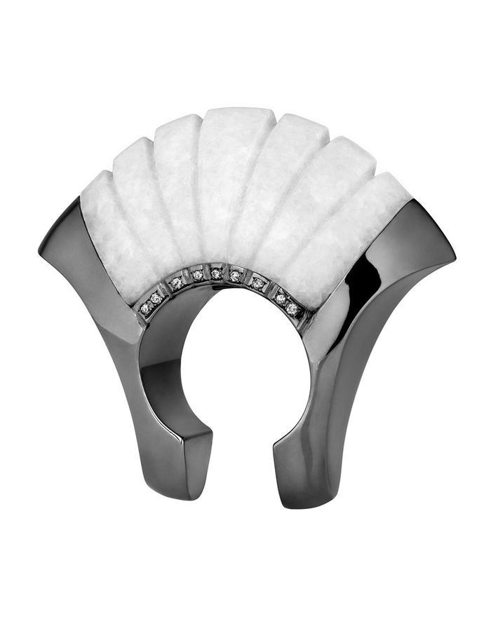 Enosis ring/ 14K black gold/ Thasos marble/ grey diamonds