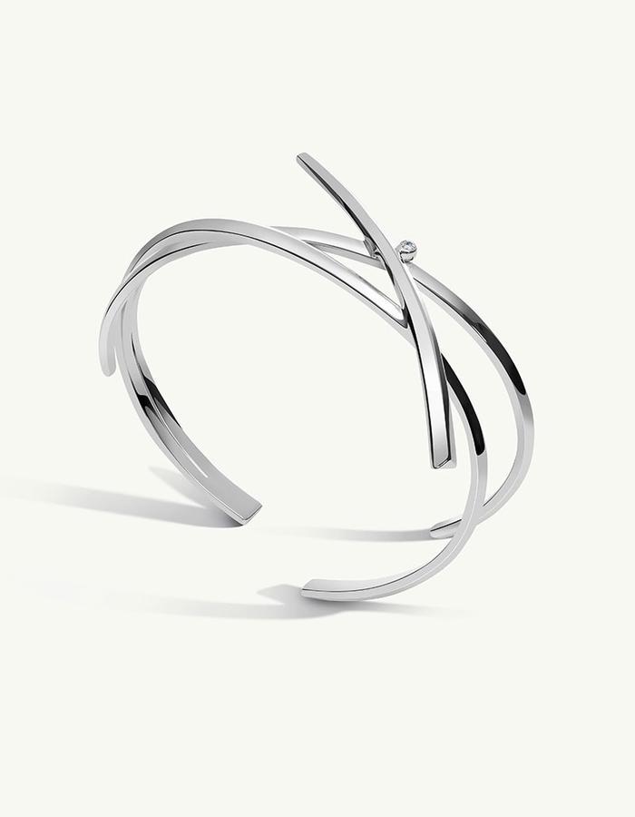 PYTHIA COIL DIAMOND CUFF BRACELET - Silver -1