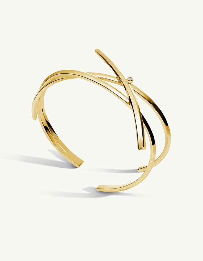 PYTHIA COIL DIAMOND CUFF BRACELET - 14k Gold -1