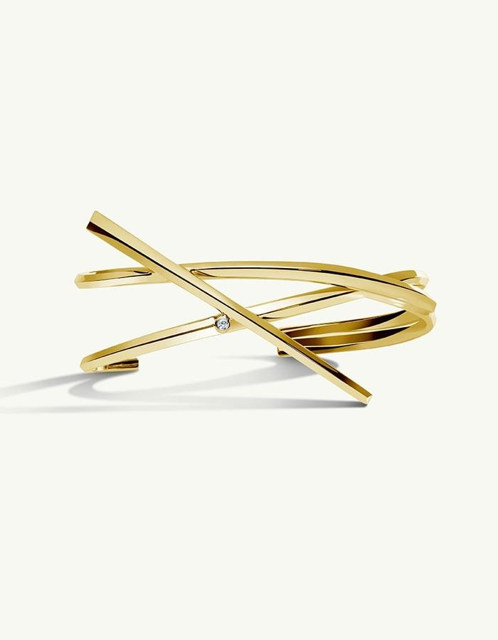 PYTHIA COIL DIAMOND CUFF BRACELET - 14k Gold -2