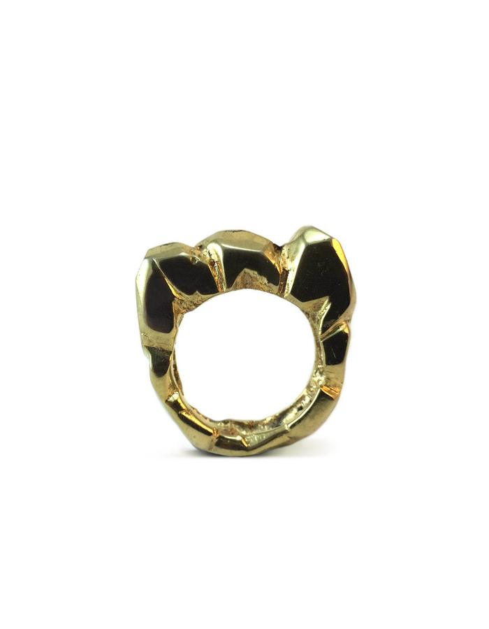 Petra Ring - Gold plated brass. Hand carved ring, lost wax technique.