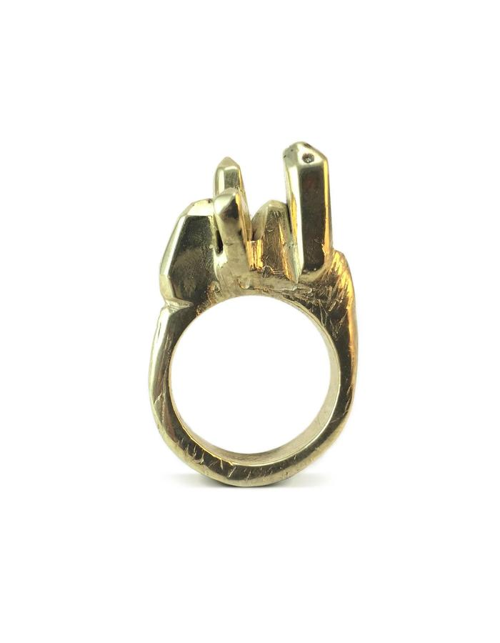 Petra ring II- Gold plated brass. Hand carved ring, lost wax technique.