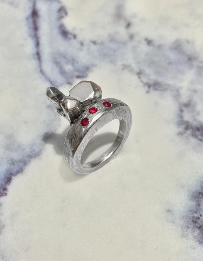 Engagment Ring. Hand craved ring, lost wax technique with synthetic rubies.