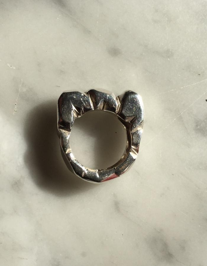 Hand carved, lost wax technique Silver ring.