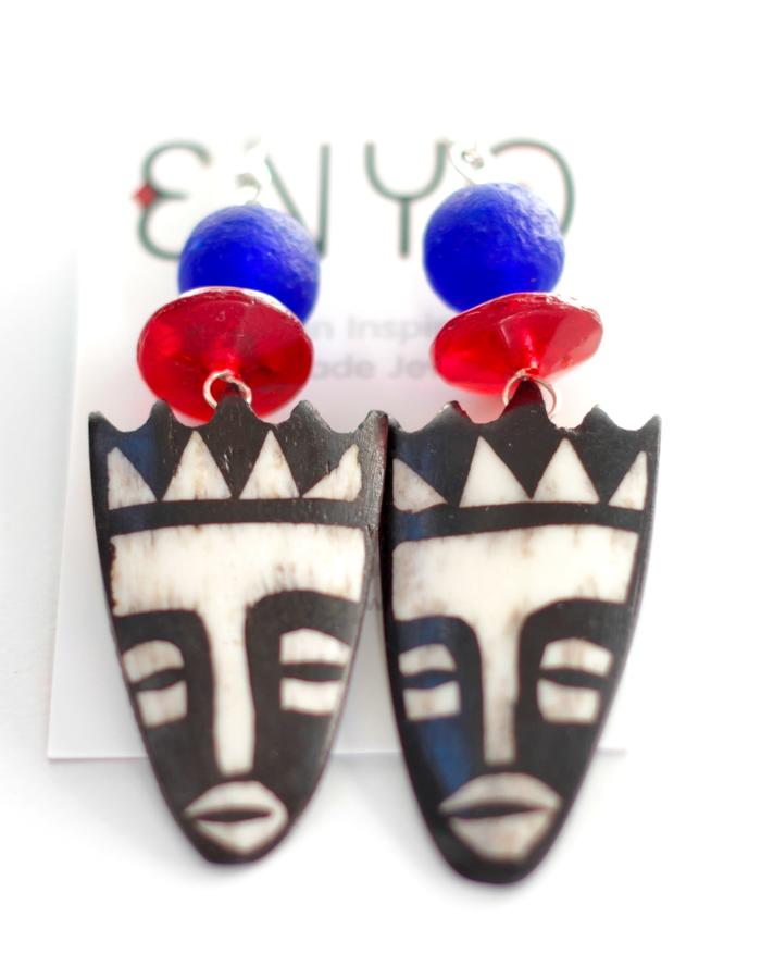 YAYA: Blue Mask Earrings