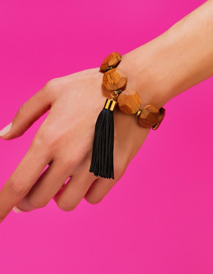vintage wood beads and tassel bracelet