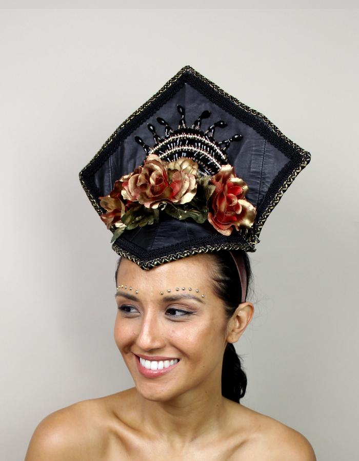 Upcycled Leather Headdress for Screaming Mimi's