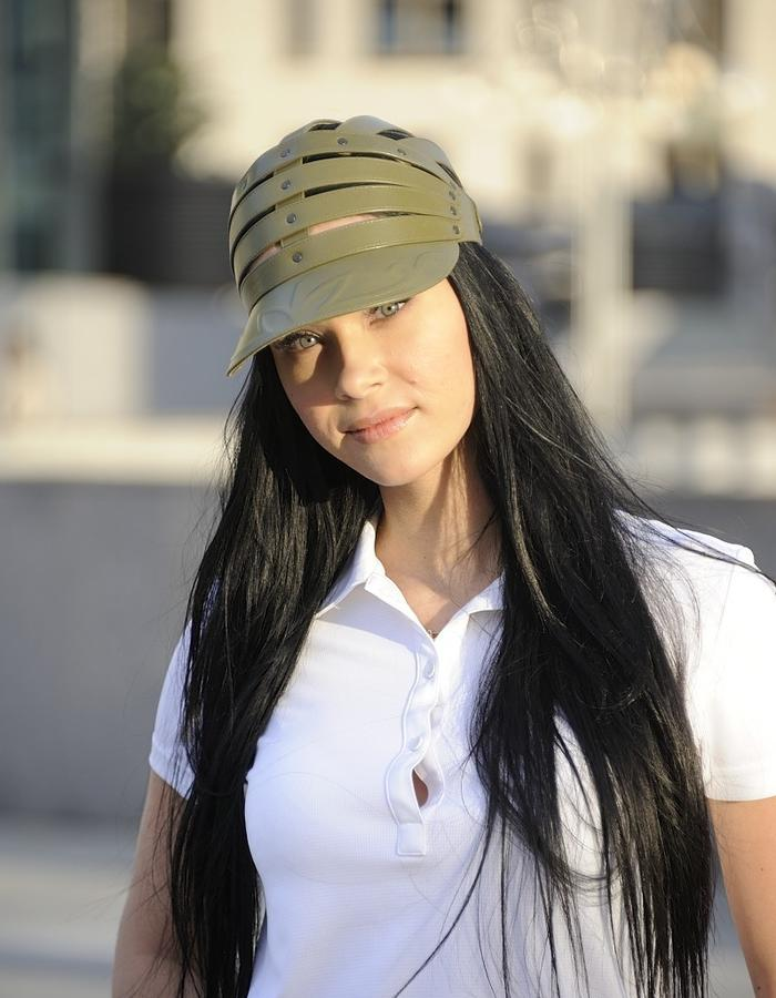 Cap CHIBIS Olive. Visor is made with floral ornament extruded technology, Light narrow strips and elegant metal buttons on the back side make the model one size.
