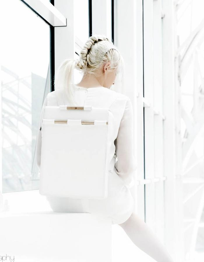 leather backpack, white, wooden handle