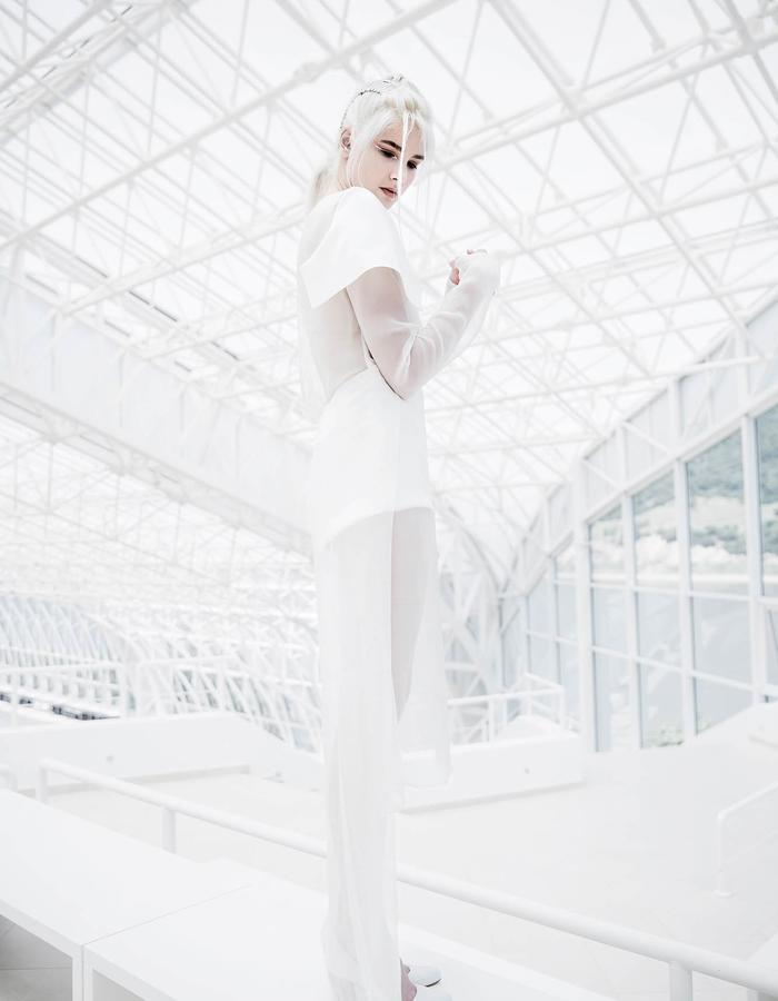 white silk, transparent, architecture