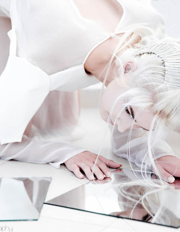 white silk, transparent, architecture, leather, wooden heels, mirror