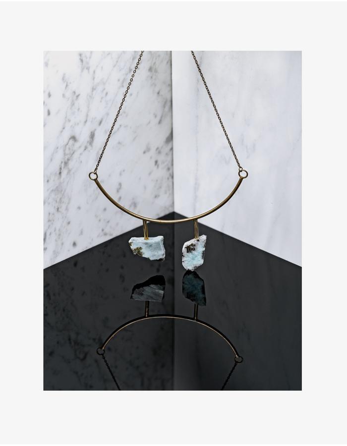 Raw larimar necklace LLY Atelier