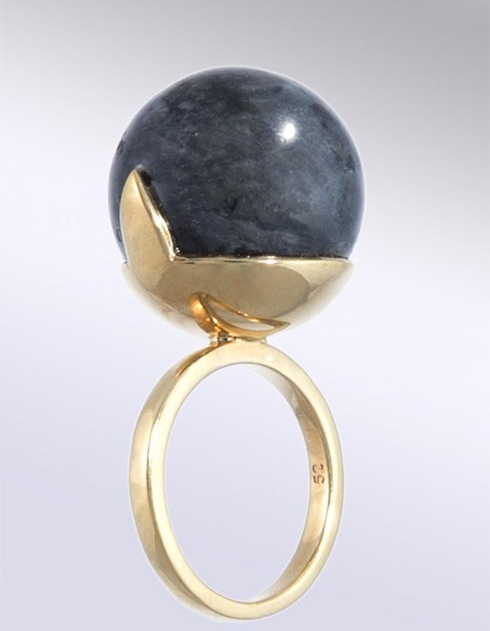GIANT HYRIOOS RING. MATERIALS / Larvikite Gemstone, Gold Plated Brass 14K (XS, S, M & L Sizes)