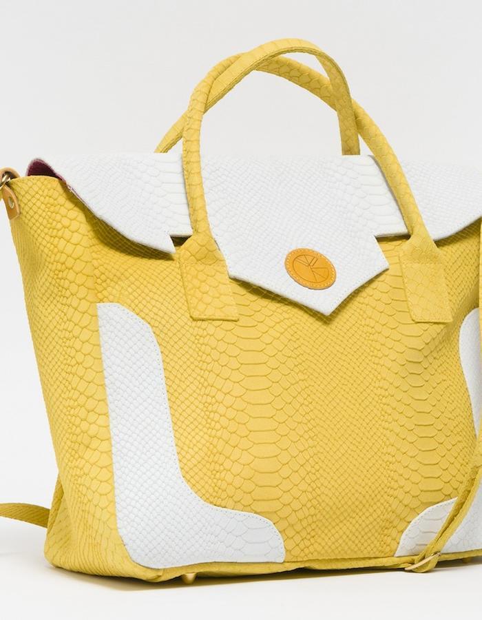 KGW bags - Lemon Yellow & White 'Dragon I' tote