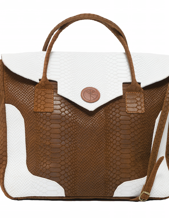 KGW bags - Tanned Brown & White 'Dragon I' tote
