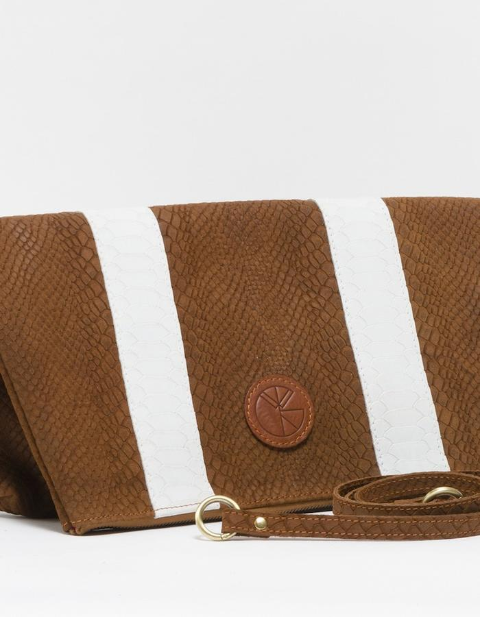 KGW bags - Tanned Brown & White 'Dragon II' clutch