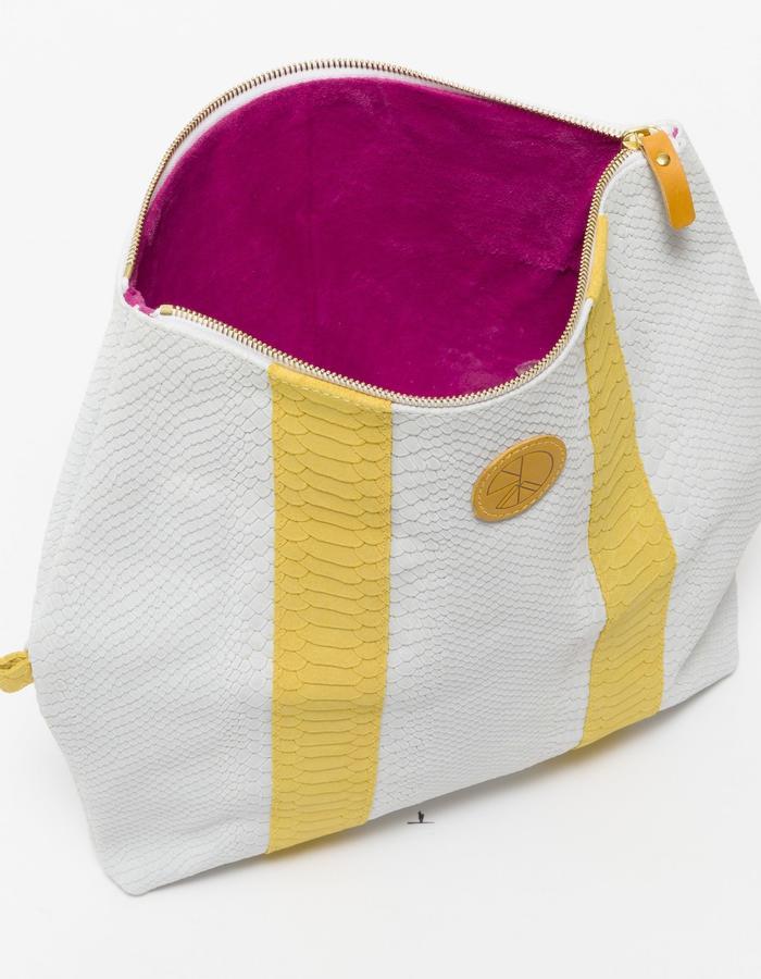 KGW bags - White & Lemon Yellow 'Dragon II' clutch