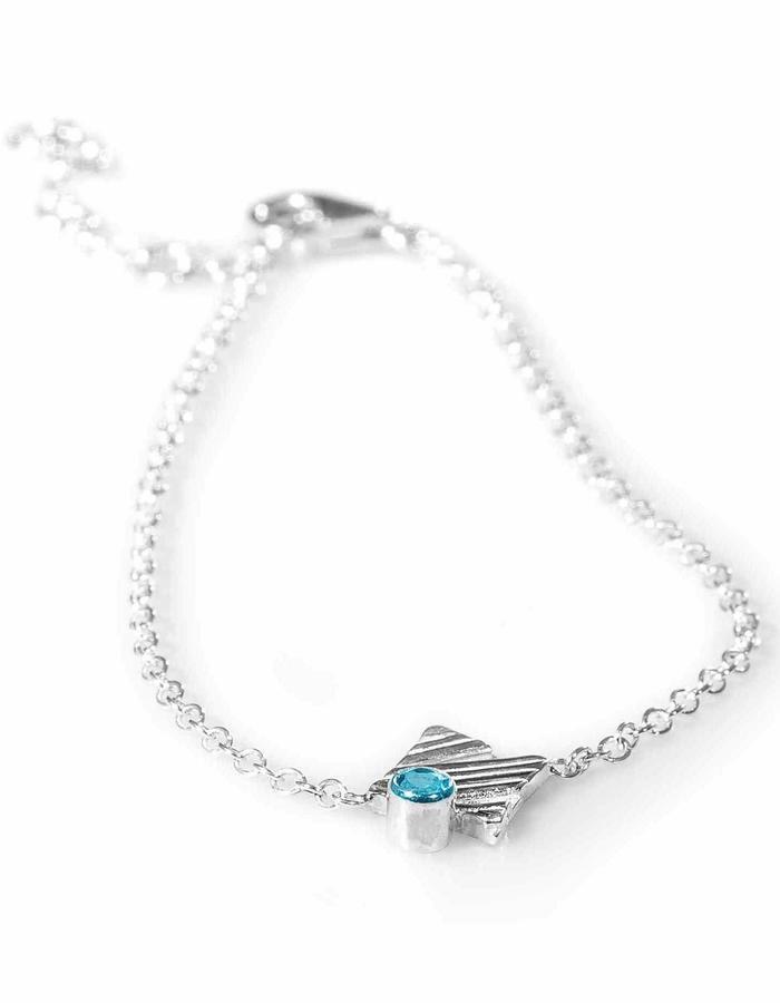 KGW by S.B. - Sterling silver single chain bracelet with Swiss Topaz
