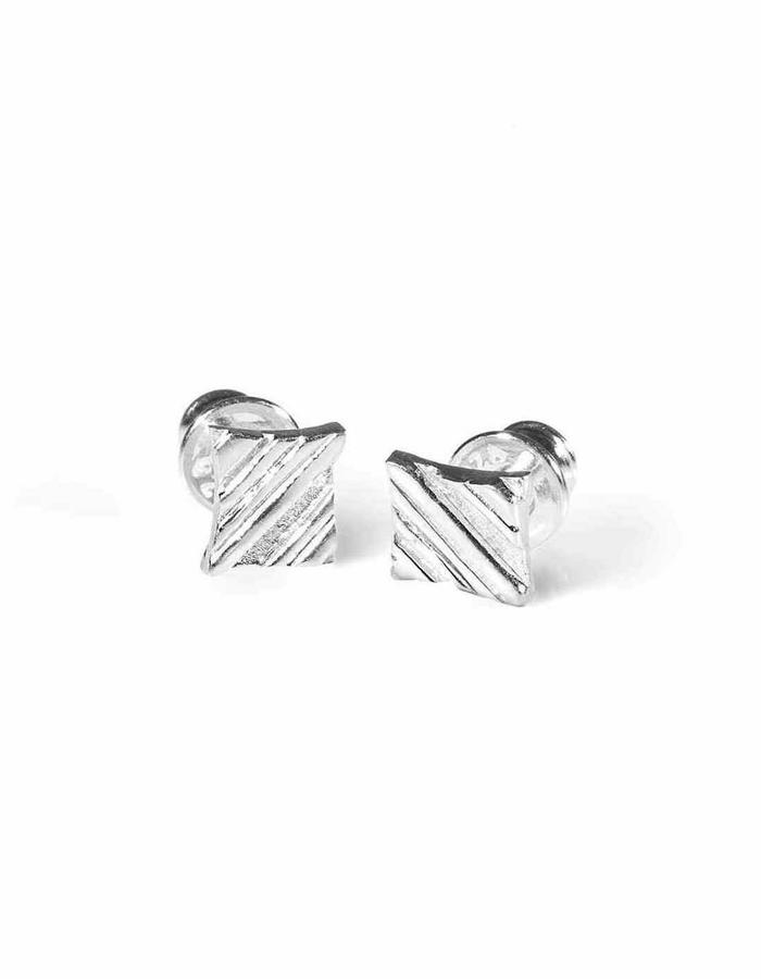 KGW by S.B. - Small sterling silver studs with stripy pattern