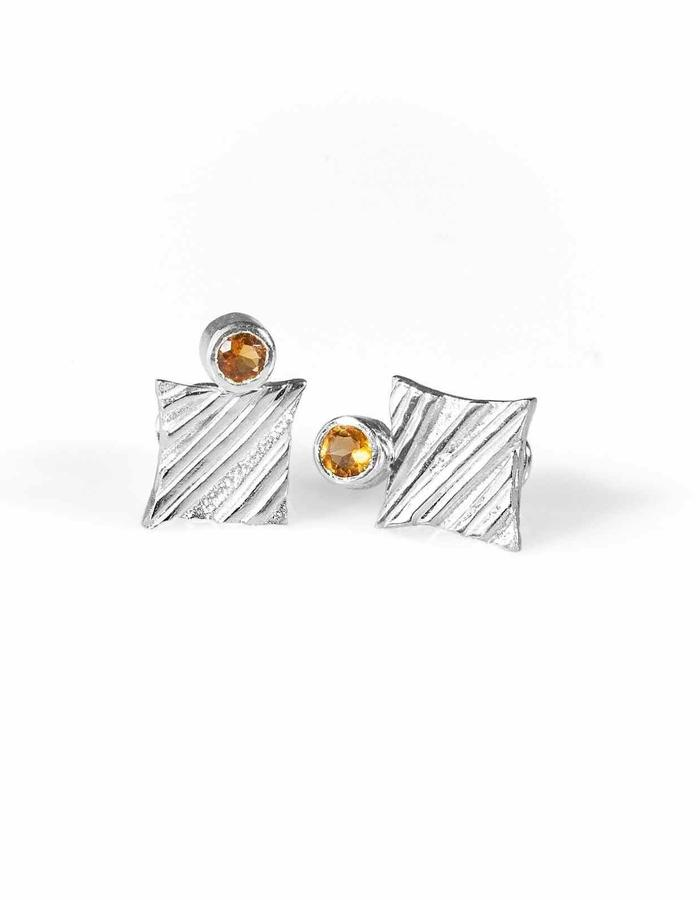 KGW by S.B. - Sterling silver studs with stripy pattern and Citrone