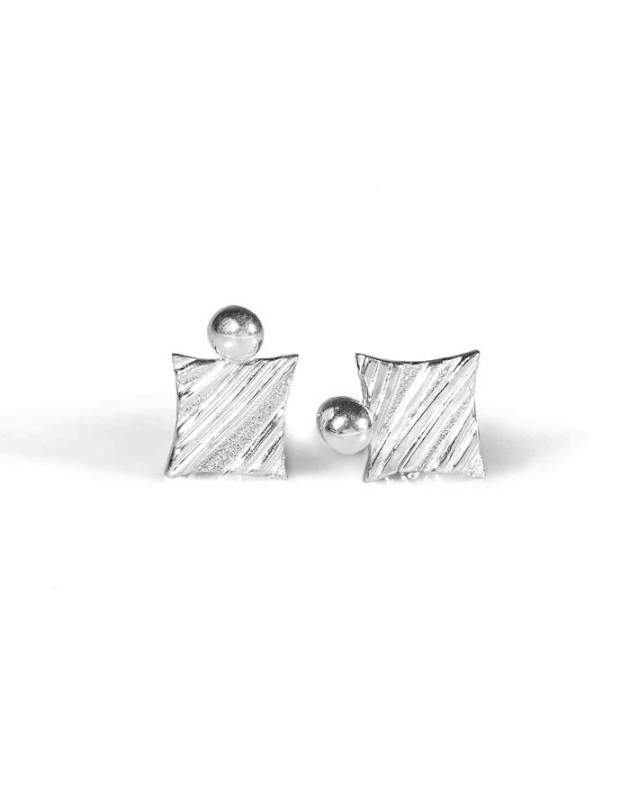KGW by S.B. - Sterling silver studs with stripy pattern and silver dot