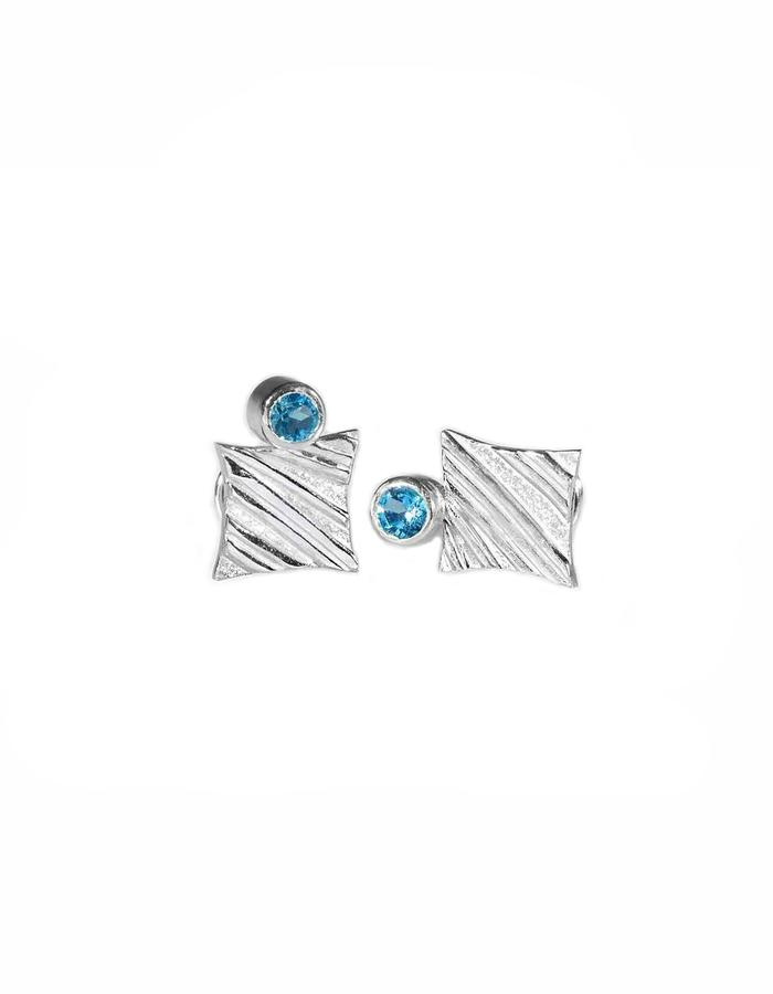 KGW by S.B. - Sterling silver studs with stripy pattern and Swiss Topaz