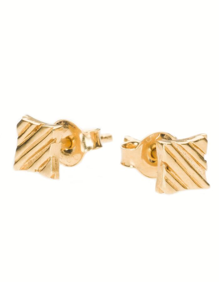 KGW by S.B. - Small 24k gold plated sterling silver studs with stripy pattern