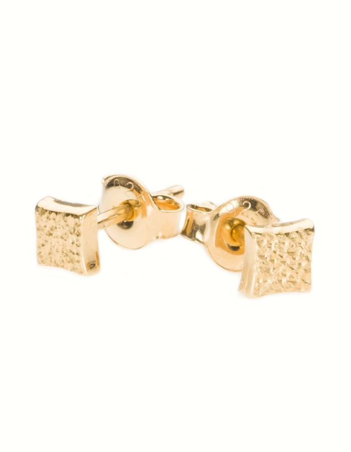 KGW by S.B. - Small 24k gold plated sterling silver studs with dotted pattern