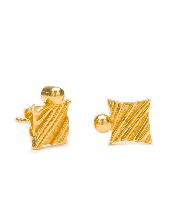 KGW by S.B. - 24k gold plated sterling silver studs with stripy pattern and solid dot