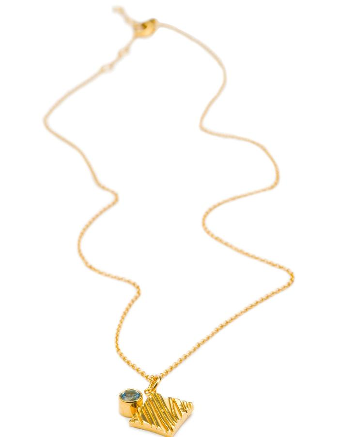 KGW by S.B. - 24k gold plated sterling silver necklace with Swiss Topaz